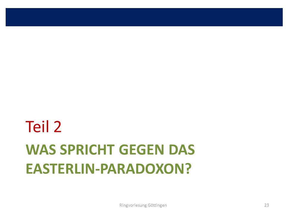 WAS SPRICHT GEGEN DAS EASTERLIN-PARADOXON? Teil 2 Ringvorlesung Göttingen23