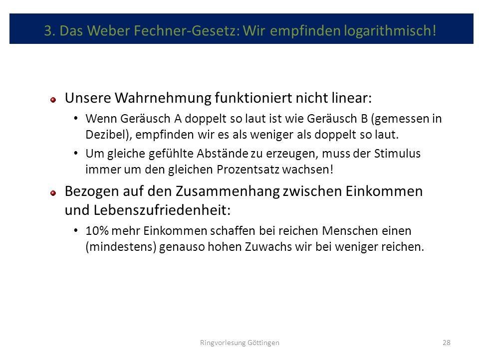 3. Das Weber Fechner-Gesetz: Wir empfinden logarithmisch! Unsere Wahrnehmung funktioniert nicht linear: Wenn Geräusch A doppelt so laut ist wie Geräus