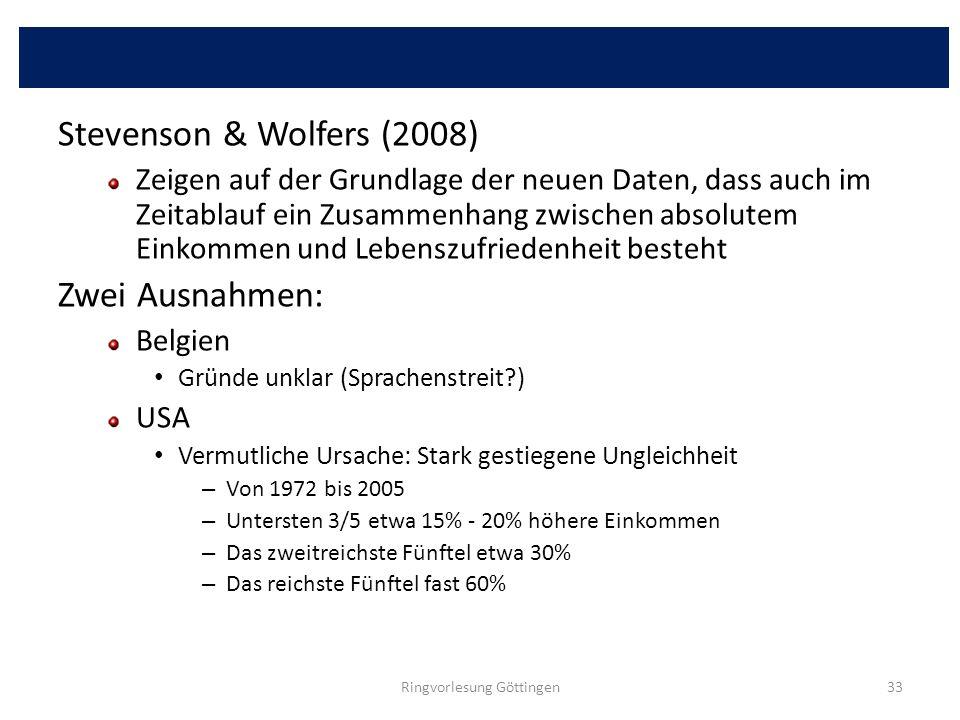 Stevenson & Wolfers (2008) Zeigen auf der Grundlage der neuen Daten, dass auch im Zeitablauf ein Zusammenhang zwischen absolutem Einkommen und Lebensz