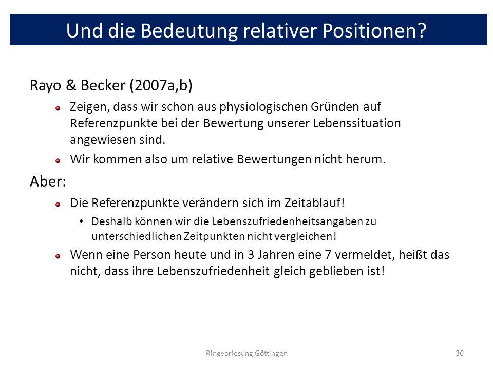 Und die Bedeutung relativer Positionen? Rayo & Becker (2007a,b) Zeigen, dass wir schon aus physiologischen Gründen auf Referenzpunkte bei der Bewertun