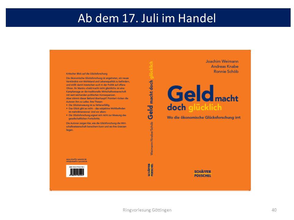 Ab dem 17. Juli im Handel Ringvorlesung Göttingen40