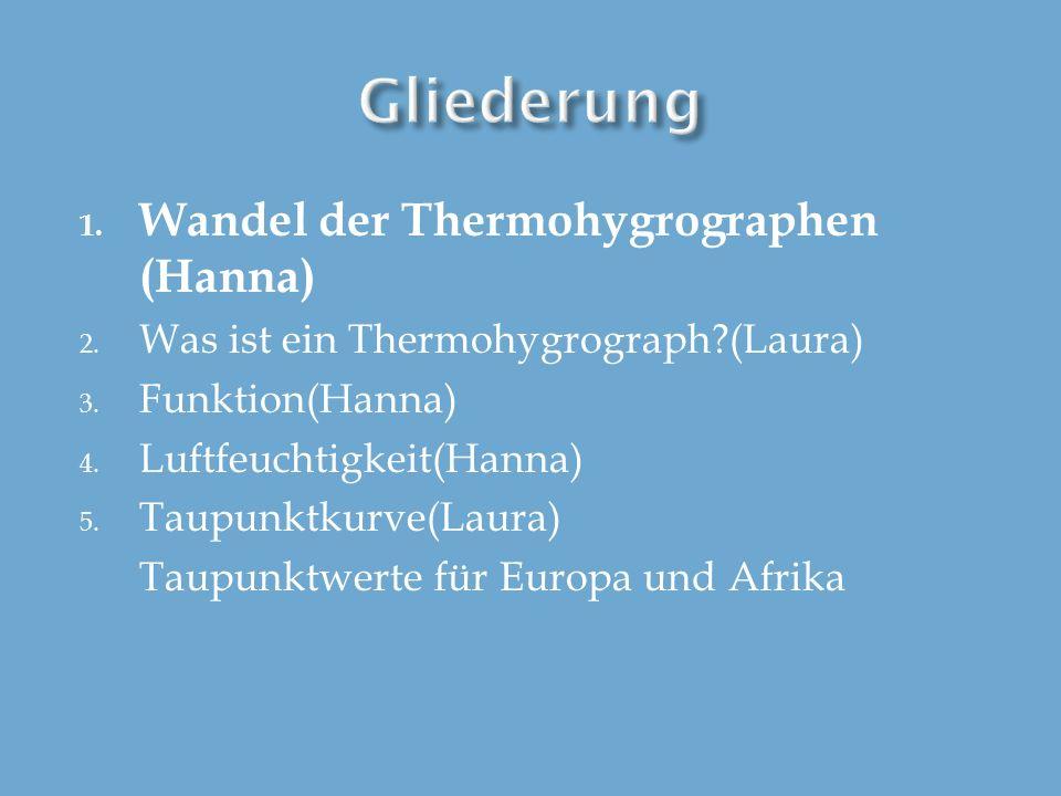 1. Wandel der Thermohygrographen (Hanna) 2. Was ist ein Thermohygrograph?(Laura) 3. Funktion(Hanna) 4. Luftfeuchtigkeit(Hanna) 5. Taupunktkurve(Laura)