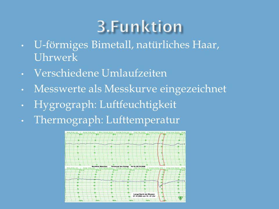U-förmiges Bimetall, natürliches Haar, Uhrwerk Verschiedene Umlaufzeiten Messwerte als Messkurve eingezeichnet Hygrograph: Luftfeuchtigkeit Thermograp