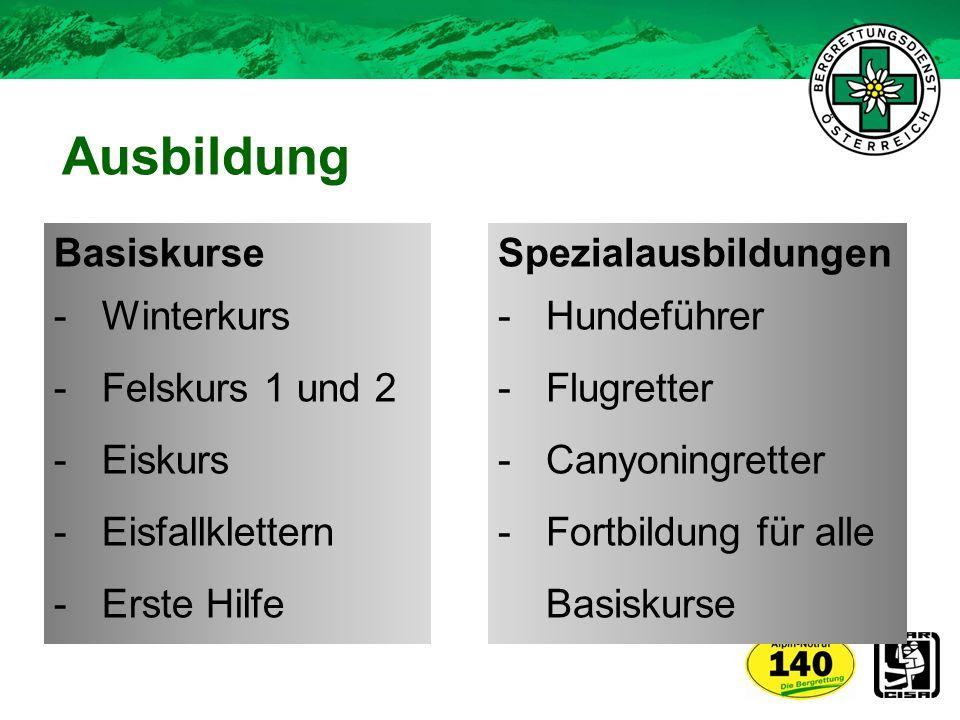 Ausbildung Spezialausbildungen -Hundeführer -Flugretter -Canyoningretter -Fortbildung für alle Basiskurse Basiskurse -Winterkurs -Felskurs 1 und 2 -Ei