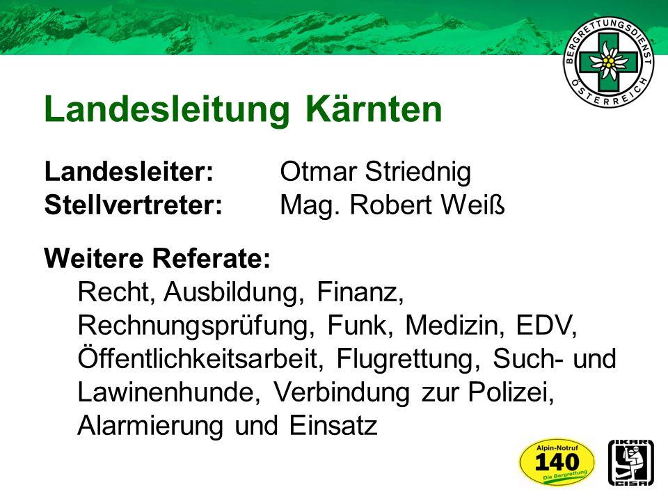 Mitgliederstand (Stichtag 09/2012) 974 Mitglieder 765 aktive BergretterInnen (davon 36 Frauen) Spezialisten o Suchhundeteams o Canyoningretter o Flugretter