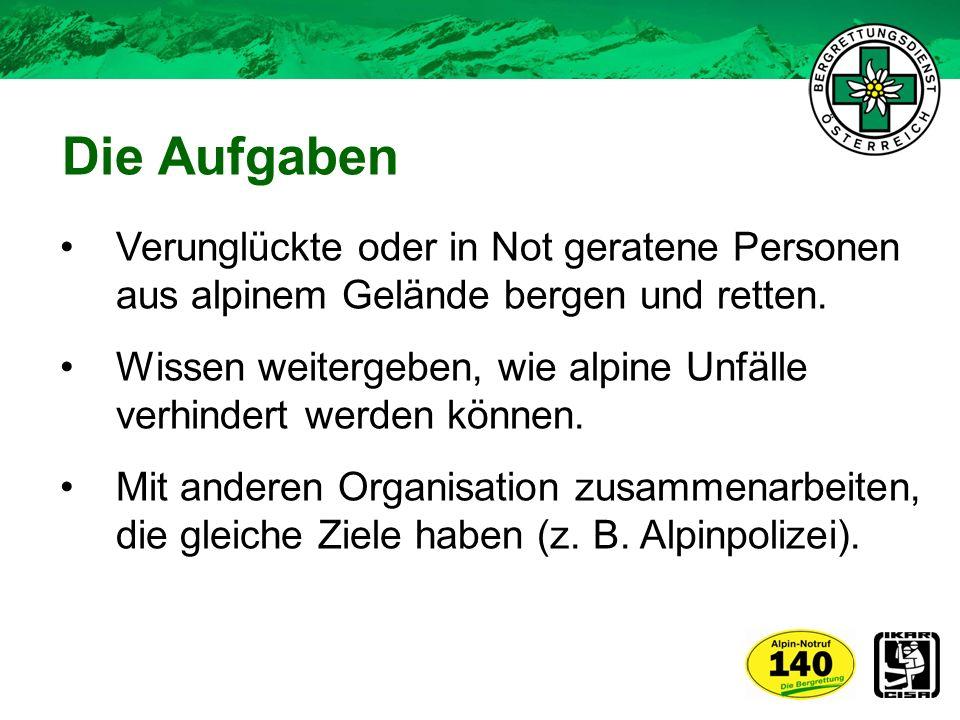 Verunglückte oder in Not geratene Personen aus alpinem Gelände bergen und retten. Wissen weitergeben, wie alpine Unfälle verhindert werden können. Mit