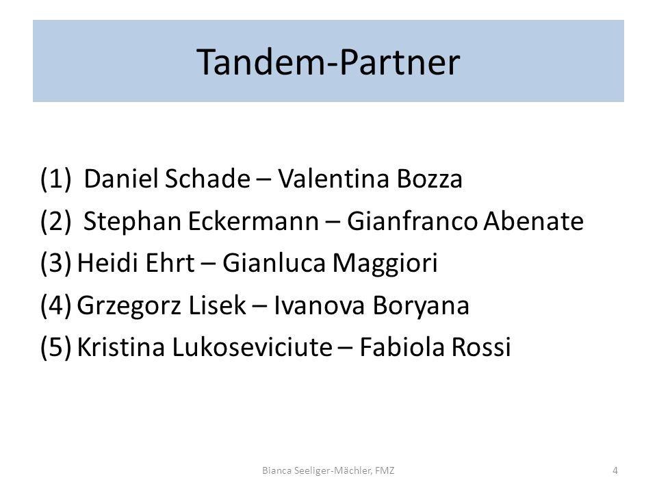 Tandem-Partner (1) Daniel Schade – Valentina Bozza (2) Stephan Eckermann – Gianfranco Abenate (3)Heidi Ehrt – Gianluca Maggiori (4)Grzegorz Lisek – Iv