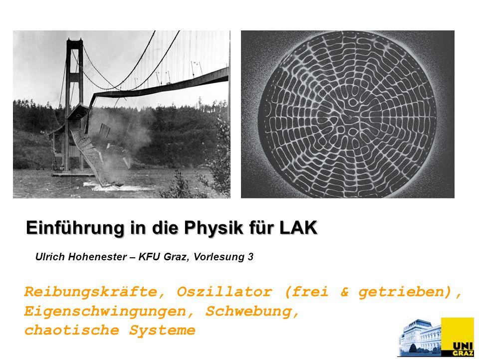 Ulrich Hohenester – KFU Graz, Vorlesung 3 Reibungskräfte, Oszillator (frei & getrieben), Eigenschwingungen, Schwebung, chaotische Systeme Einführung i