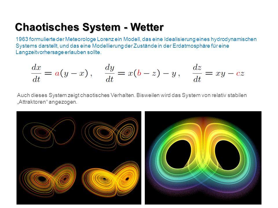 1963 formulierte der Meteorologe Lorenz ein Modell, das eine Idealisierung eines hydrodynamischen Systems darstellt, und das eine Modellierung der Zus
