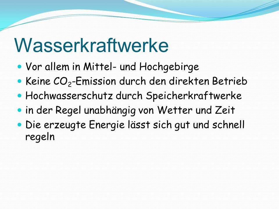 Vor allem in Mittel- und Hochgebirge Keine CO 2 -Emission durch den direkten Betrieb Hochwasserschutz durch Speicherkraftwerke in der Regel unabhängig
