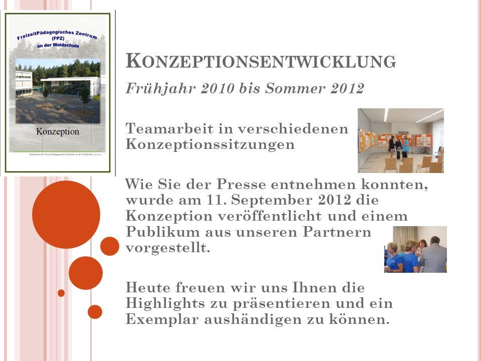 K ONZEPTIONSENTWICKLUNG Frühjahr 2010 bis Sommer 2012 Teamarbeit in verschiedenen Konzeptionssitzungen Wie Sie der Presse entnehmen konnten, wurde am