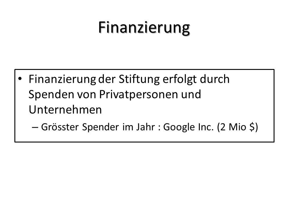 Finanzierung Finanzierung der Stiftung erfolgt durch Spenden von Privatpersonen und Unternehmen – Grösster Spender im Jahr : Google Inc. (2 Mio $)