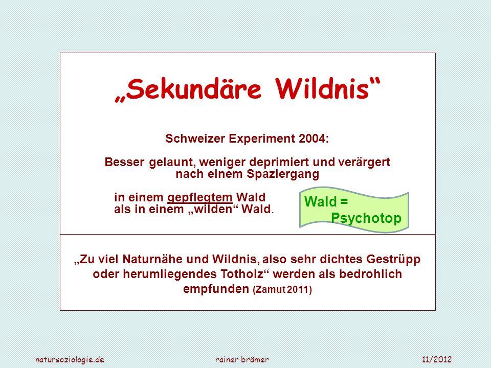 Sekundäre Wildnis Schweizer Experiment 2004: Besser gelaunt, weniger deprimiert und verärgert nach einem Spaziergang in einem gepflegtem Wald als in e