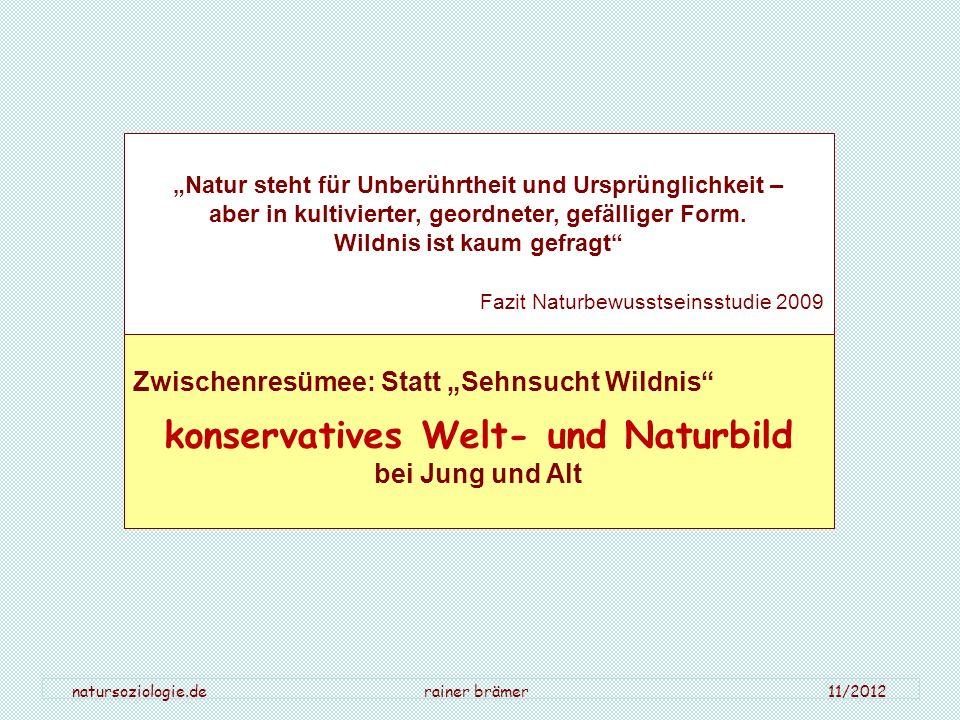 natursoziologie.de rainer brämer 11/2012 Natur steht für Unberührtheit und Ursprünglichkeit – aber in kultivierter, geordneter, gefälliger Form. Wildn