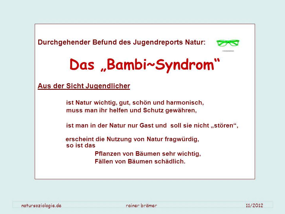 Durchgehender Befund des Jugendreports Natur: Das Bambi~Syndrom Aus der Sicht Jugendlicher ist Natur wichtig, gut, schön und harmonisch, muss man ihr