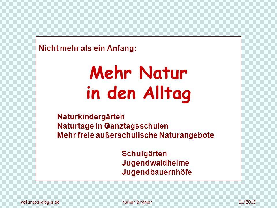 natursoziologie.de rainer brämer 11/2012 Nicht mehr als ein Anfang: Mehr Natur in den Alltag Naturkindergärten Naturtage in Ganztagsschulen Mehr freie