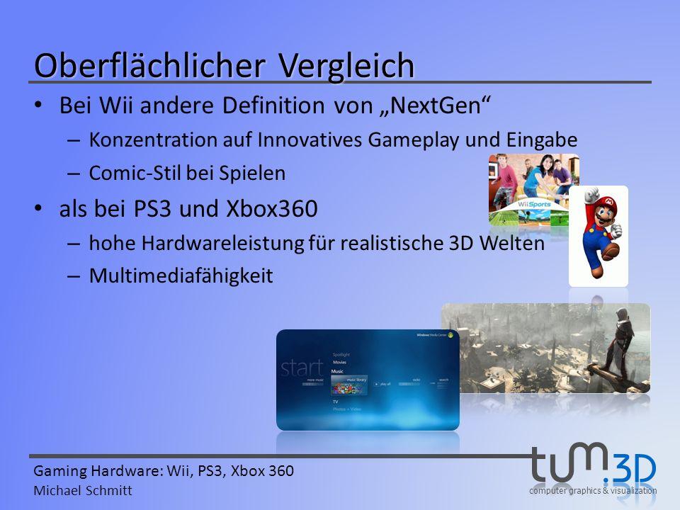 computer graphics & visualization Gaming Hardware: Wii, PS3, Xbox 360 Michael Schmitt Oberflächlicher Vergleich Bei Wii andere Definition von NextGen