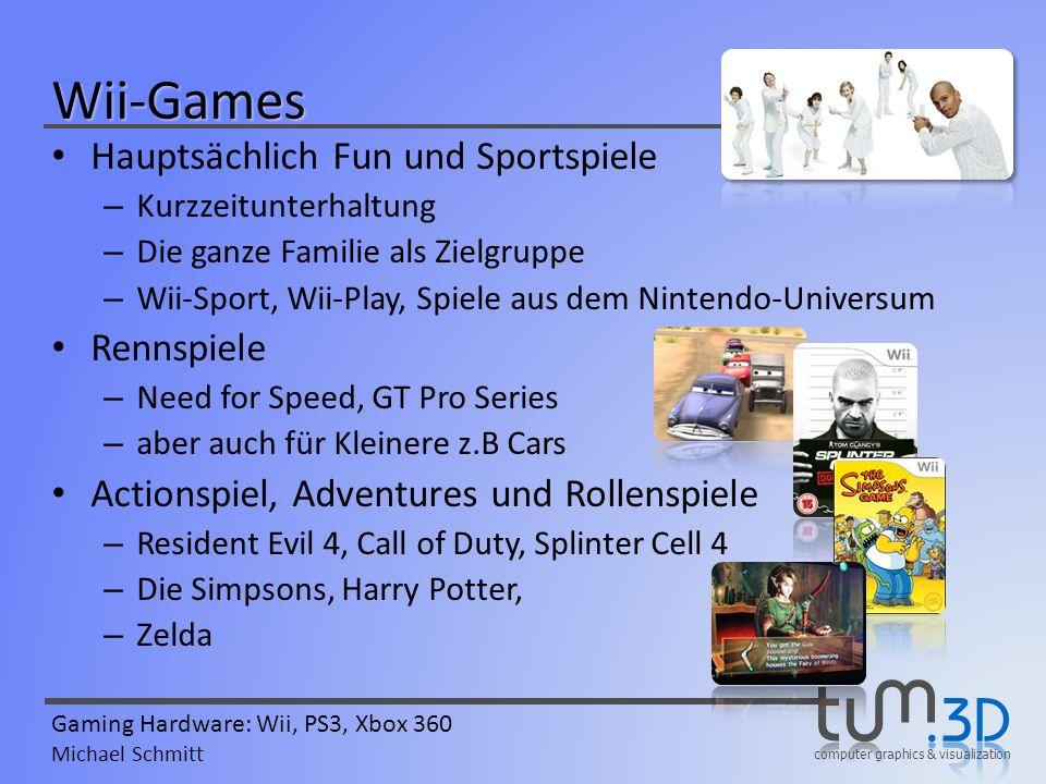 computer graphics & visualization Gaming Hardware: Wii, PS3, Xbox 360 Michael Schmitt Wii-Games Hauptsächlich Fun und Sportspiele – Kurzzeitunterhaltu