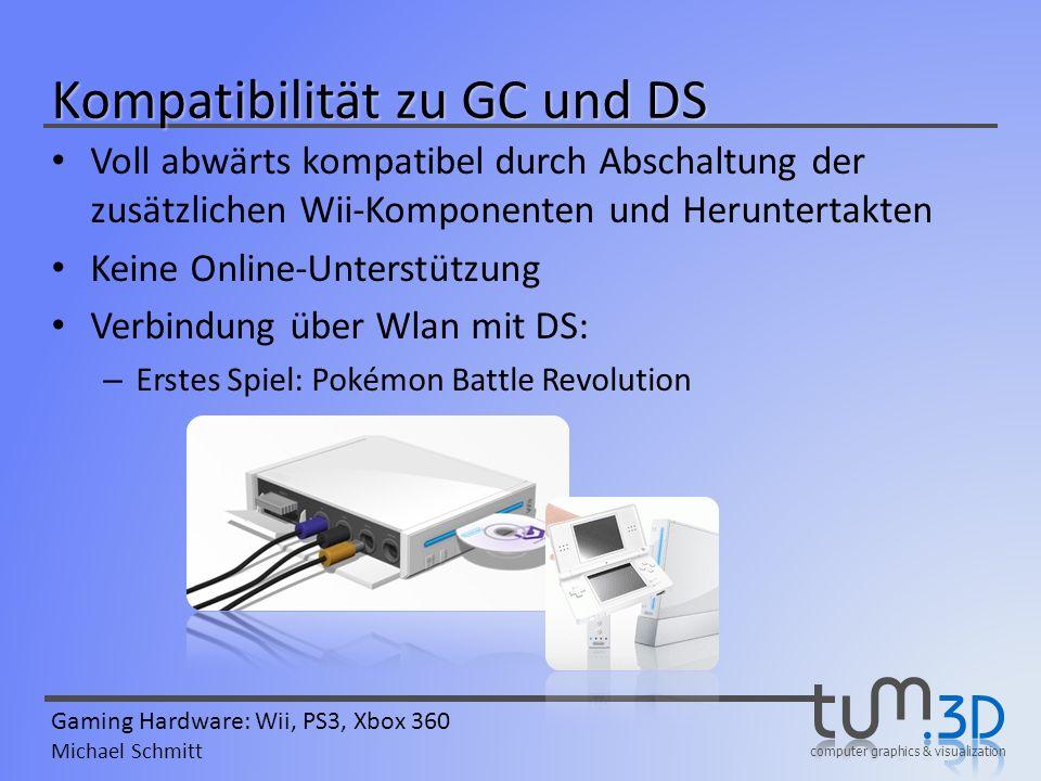 computer graphics & visualization Gaming Hardware: Wii, PS3, Xbox 360 Michael Schmitt Kompatibilität zu GC und DS Voll abwärts kompatibel durch Abscha