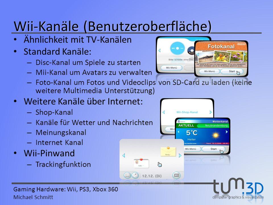 computer graphics & visualization Gaming Hardware: Wii, PS3, Xbox 360 Michael Schmitt Ähnlichkeit mit TV-Kanälen Standard Kanäle: – Disc-Kanal um Spie