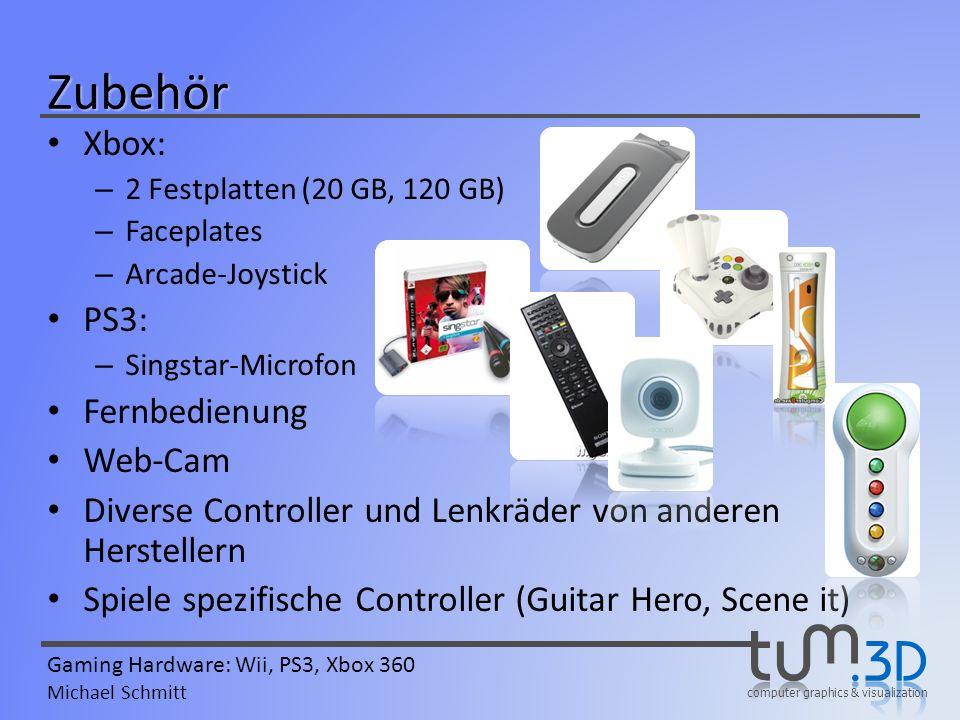 computer graphics & visualization Gaming Hardware: Wii, PS3, Xbox 360 Michael Schmitt Xbox: – 2 Festplatten (20 GB, 120 GB) – Faceplates – Arcade-Joys
