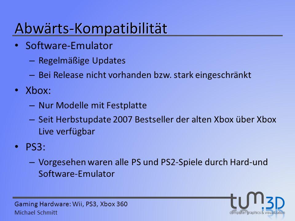 computer graphics & visualization Gaming Hardware: Wii, PS3, Xbox 360 Michael Schmitt Abwärts-Kompatibilität Software-Emulator – Regelmäßige Updates –