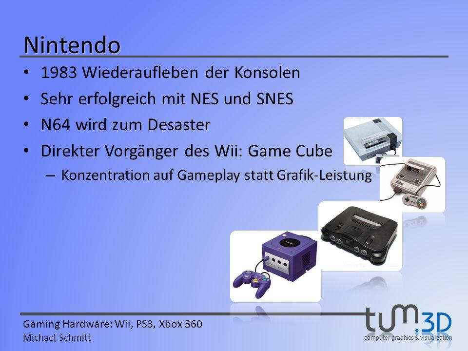 computer graphics & visualization Gaming Hardware: Wii, PS3, Xbox 360 Michael Schmitt Wii Virtual-Console Emulation von versch.