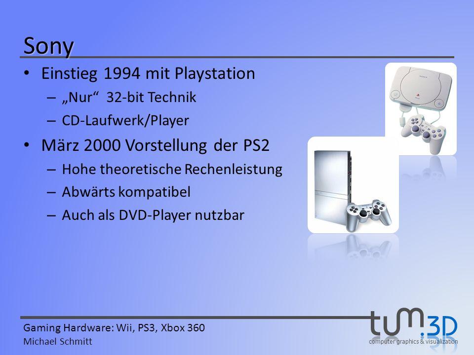 computer graphics & visualization Gaming Hardware: Wii, PS3, Xbox 360 Michael Schmitt Sony Einstieg 1994 mit Playstation – Nur 32-bit Technik – CD-Lau