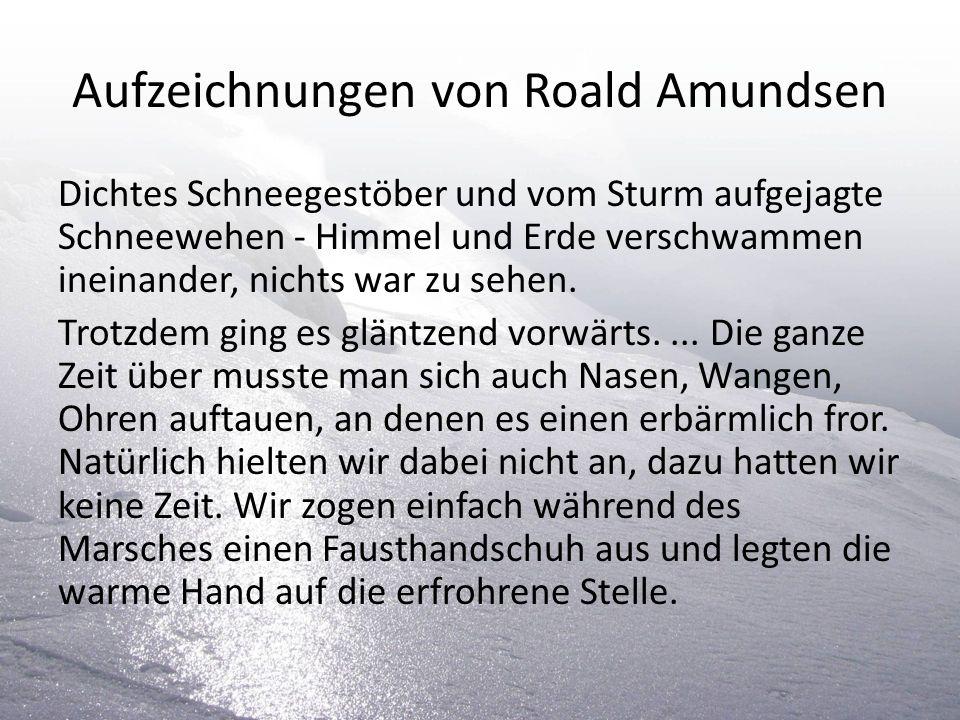 Aufzeichnungen von Roald Amundsen Dichtes Schneegestöber und vom Sturm aufgejagte Schneewehen - Himmel und Erde verschwammen ineinander, nichts war zu