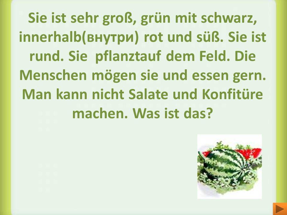 Sie ist sehr groß, grün mit schwarz, innerhalb(внутри) rot und süß. Sie ist rund. Sie pflanztauf dem Feld. Die Menschen mögen sie und essen gern. Man