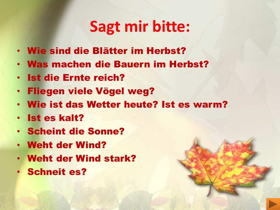 Sagt mir bitte: Wie sind die Blätter im Herbst? Was machen die Bauern im Herbst? Ist die Ernte reich? Fliegen viele Vögel weg? Wie ist das Wetter heut