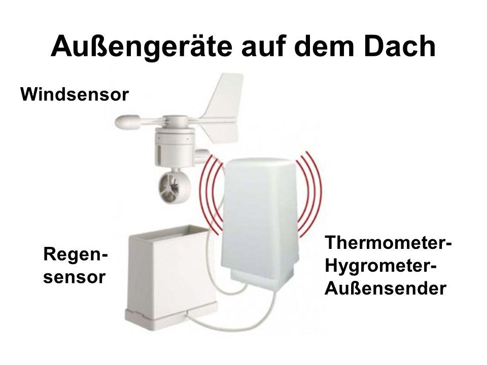 Außengeräte auf dem Dach Thermometer- Hygrometer- Außensender Windsensor Regen- sensor