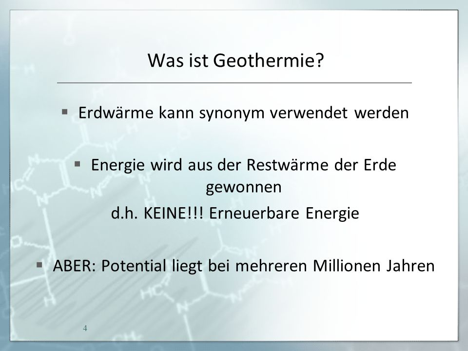Erdwärme in Deutschland Theoretisches hydrothermales Potenzial liegt bei schätzungsweise 1574 Exajoule = 1.574.000.000.000.000.000 Joule = 1.574 x 10 18 Joule 300-Fache der jährlichen Gesamtwärmenachfrage in Deutschland 35