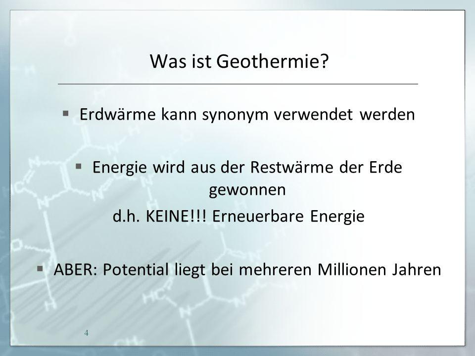 Quellen http://www.rwe.com/web/cms/de/1475774/rwe-dea/know-how/bohrung/expandable-tubular-verrohrung/http://www.rwe.com/web/cms/de/1475774/rwe-dea/know-how/bohrung/expandable-tubular-verrohrung/Fol.14 http://dejure.org/gesetze/EEG/28.htmlhttp://dejure.org/gesetze/EEG/28.htmlFol.38 http://www.alternative-energiequellen.info/alternative_db/wordpress/wp-content/uploads/Fernwaerme-Kosten.pdfhttp://www.alternative-energiequellen.info/alternative_db/wordpress/wp-content/uploads/Fernwaerme-Kosten.pdfFol.38 http://www.daldrup.eu/aktuelles/2011-06-16-SMC-Research-Geothermie-Kompakt-Branchenstudie-2011-Erneuerbare-Energien.pdfhttp://www.daldrup.eu/aktuelles/2011-06-16-SMC-Research-Geothermie-Kompakt-Branchenstudie-2011-Erneuerbare-Energien.pdfFol.42, 41 http://www.youtube.com/watch?v=xbiPwp9_iqohttp://www.youtube.com/watch?v=xbiPwp9_iqoFol.18 http://www.youtube.com/watch?v=fEOaPOlfJ8Ihttp://www.youtube.com/watch?v=fEOaPOlfJ8IFol.19 http://www.google.de/imgres?q=erdkern&um=1&client=opera&sa=N&channel=suggest&hl=de&tbm=isch&tbnid=YY4z5ujCOOiDQM:&imgrefurl=http://w ww.geocaching.com/seek/cache_details.aspx%3Fguid%3D5515b9d6-2f01-4e15-9351- b311df85e643&docid=WJKS0GmPke8zIM&imgurl=http://www.geo-therm- erdwaerme.de/files/erdkern.jpg&w=580&h=292&ei=7ndvUeGLMY6rOue0gagH&zoom=1&iact=hc&vpx=379&vpy=193&dur=2059&hovh=159&hov w=317&tx=128&ty=100&page=2&tbnh=127&tbnw=247&start=22&ndsp=28&ved=1t:429,r:24,s:0,i:165&biw=1366&bih=636Fol.11 http://www.gmk.info/ORC.133.html#http://www.gmk.info/ORC.133.html#Fol.23 http://www.google.de/imgres?q=kalina+verfahren+schema&client=opera&hs=7LO&sa=X&channel=suggest&tbm=isch&tbnid=T4v32MTv4j2fgM:&imgrefu rl=http://www.gec-co.de/de/Kalina&docid=DRhzzbhezRwKlM&imgurl=http://www.gec- co.de/files/IMG%252520I0116%252520Kalina%252520%2526%252520W%2525C3%2525A4rmenutzung_450.jpg&w=450&h=318&ei=fIdvUdeoFo6 7Peu- gIAP&zoom=1&iact=rc&dur=1&page=1&tbnh=141&tbnw=199&start=0&ndsp=16&ved=1t:429,r:0,s:0,i:85&tx=111&ty=222&biw=1366&bih=636 Fol.25bih=636 45