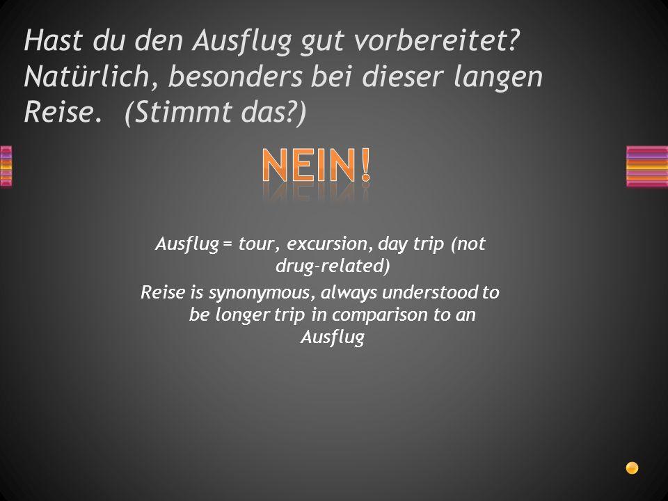 Hast du den Ausflug gut vorbereitet? Natürlich, besonders bei dieser langen Reise. (Stimmt das?) Ausflug = tour, excursion, day trip (not drug-related