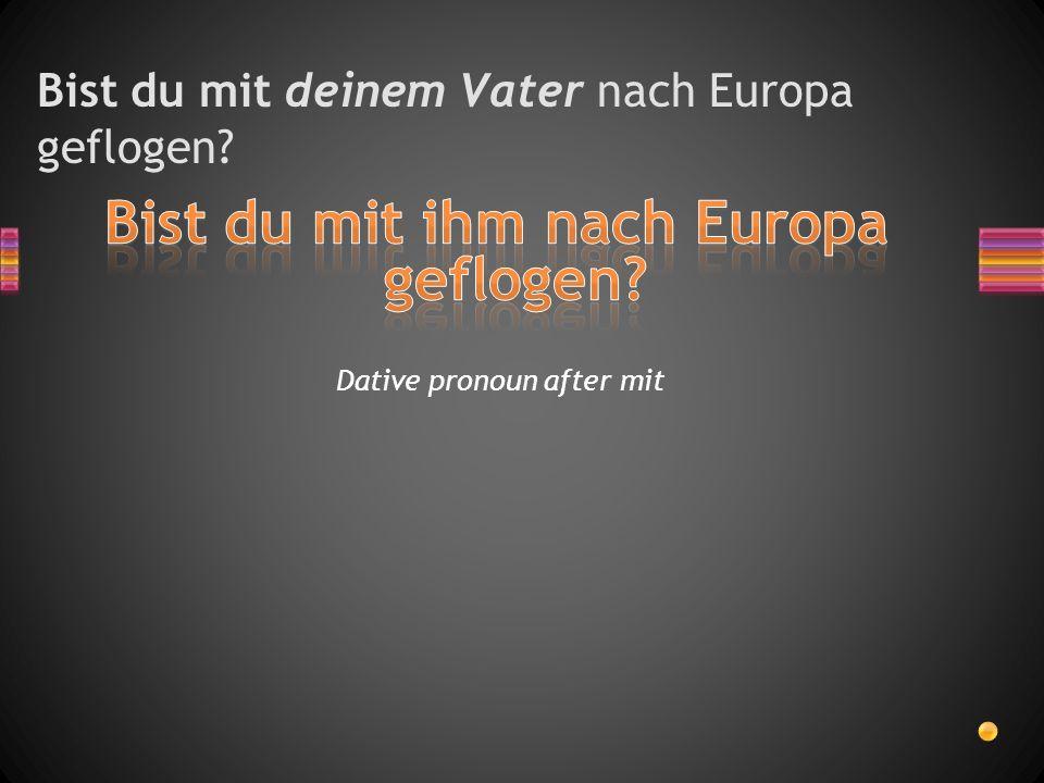 Bist du mit deinem Vater nach Europa geflogen? Dative pronoun after mit