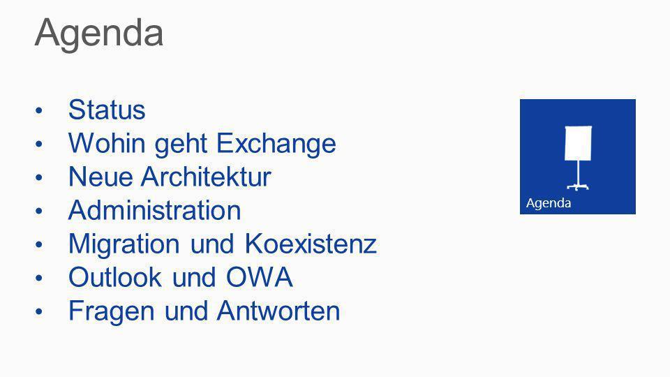 Agenda Status Wohin geht Exchange Neue Architektur Administration Migration und Koexistenz Outlook und OWA Fragen und Antworten