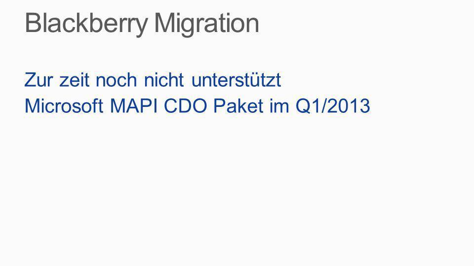 Zur zeit noch nicht unterstützt Microsoft MAPI CDO Paket im Q1/2013