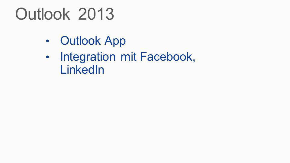 Outlook App Integration mit Facebook, LinkedIn