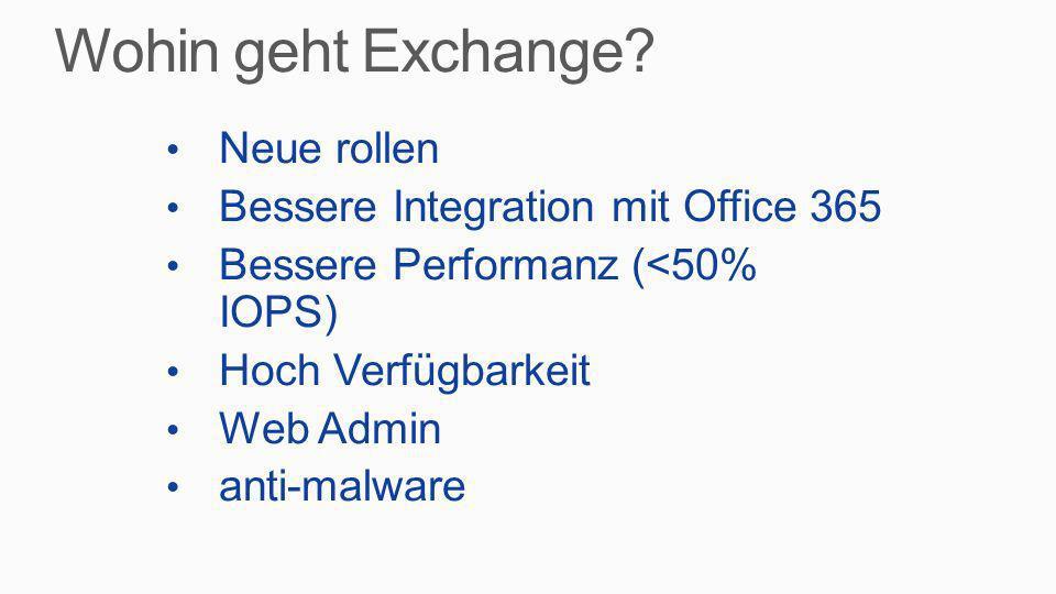 Bessere Daten Schütz (DLP) Cross platform compliance audit SharePoint 2013, Exchange 2013, Lync 2013 Site Mailboxen Public Folders – ja, ja die sind immer noch da Optimiert für Windows 8 und Tablett Offline OWA