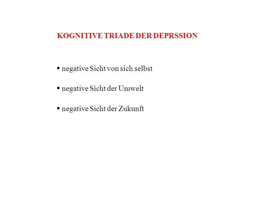 KOGNITIVE TRIADE DER DEPRSSION negative Sicht von sich selbst negative Sicht der Umwelt negative Sicht der Zukunft