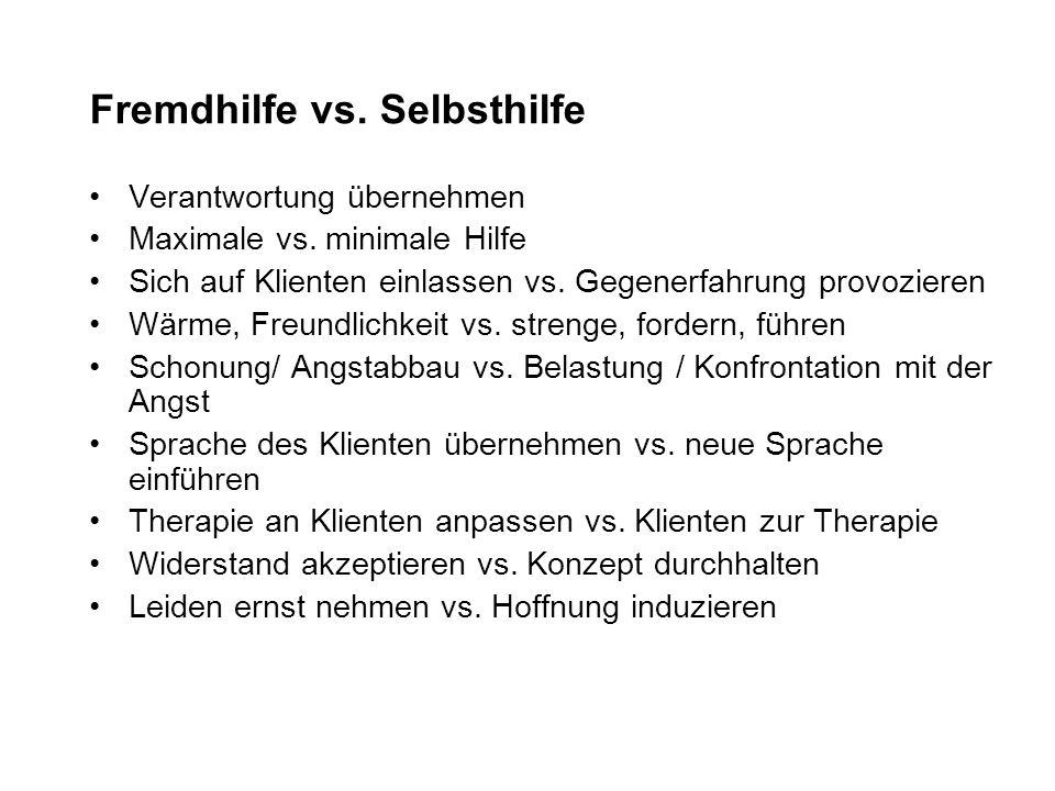 Fremdhilfe vs.Selbsthilfe Verantwortung übernehmen Maximale vs.