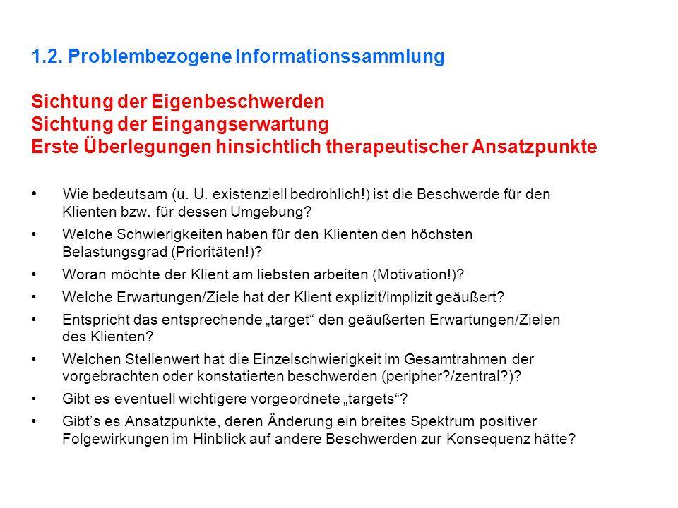 1.2. Problembezogene Informationssammlung Sichtung der Eigenbeschwerden Sichtung der Eingangserwartung Erste Überlegungen hinsichtlich therapeutischer