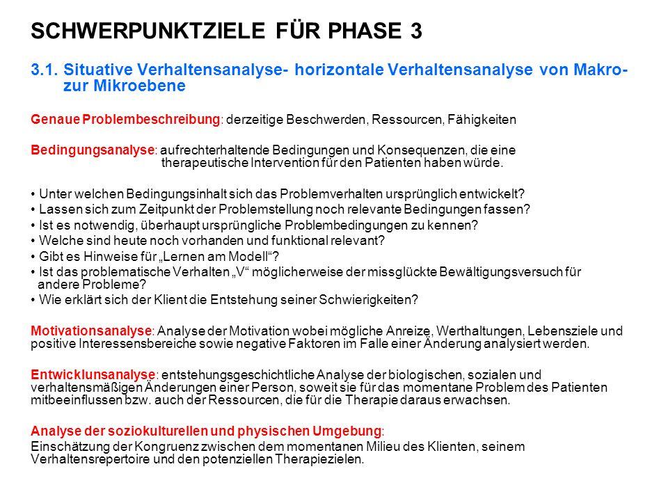 SCHWERPUNKTZIELE FÜR PHASE 3 3.1.