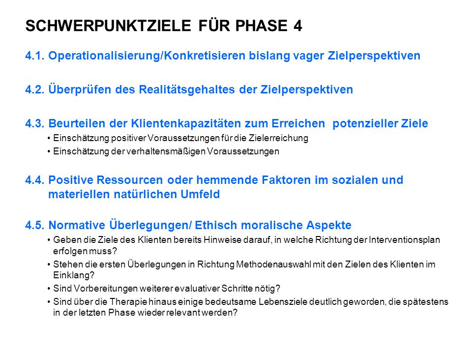 SCHWERPUNKTZIELE FÜR PHASE 4 4.1.