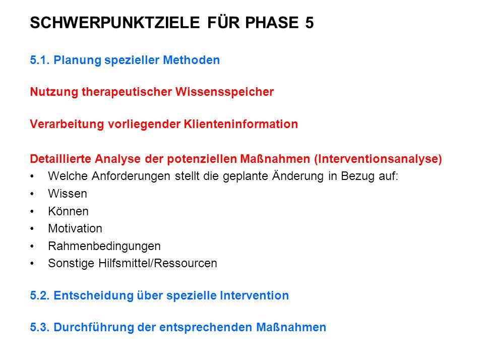 SCHWERPUNKTZIELE FÜR PHASE 5 5.1.