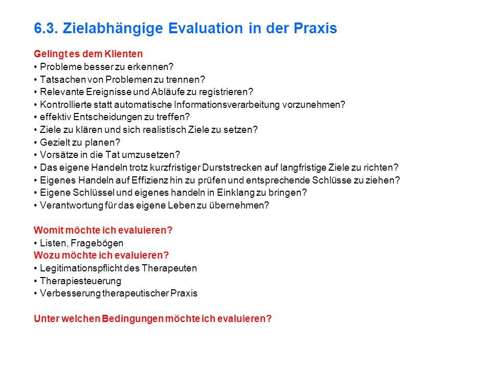 6.3.Zielabhängige Evaluation in der Praxis Gelingt es dem Klienten Probleme besser zu erkennen.