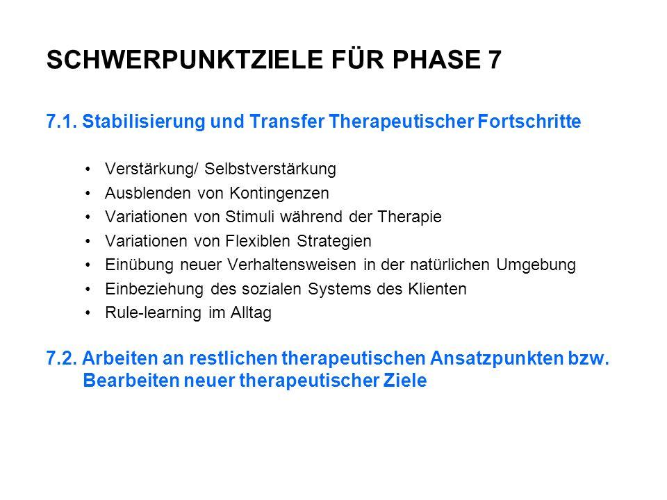 SCHWERPUNKTZIELE FÜR PHASE 7 7.1.