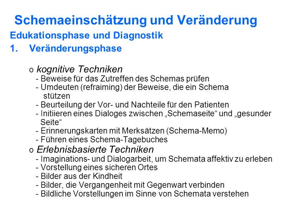 Schemaeinschätzung und Veränderung Edukationsphase und Diagnostik 1.Veränderungsphase o kognitive Techniken - Beweise für das Zutreffen des Schemas prüfen - Umdeuten (refraiming) der Beweise, die ein Schema stützen - Beurteilung der Vor- und Nachteile für den Patienten - Initiieren eines Dialoges zwischen Schemaseite und gesunder Seite - Erinnerungskarten mit Merksätzen (Schema-Memo) - Führen eines Schema-Tagebuches o Erlebnisbasierte Techniken - Imaginations- und Dialogarbeit, um Schemata affektiv zu erleben - Vorstellung eines sicheren Ortes - Bilder aus der Kindheit - Bilder, die Vergangenheit mit Gegenwart verbinden - Bildliche Vorstellungen im Sinne von Schemata verstehen