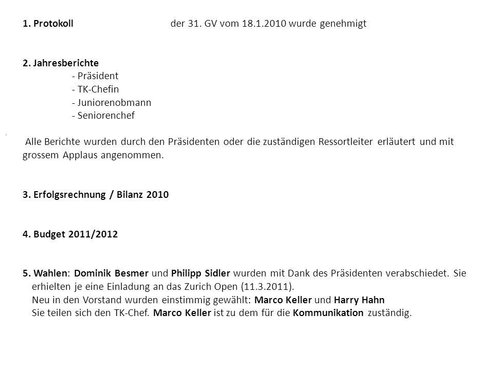 1. Protokollder 31. GV vom 18.1.2010 wurde genehmigt 2. Jahresberichte - Präsident - TK-Chefin - Juniorenobmann - Seniorenchef Alle Berichte wurden du